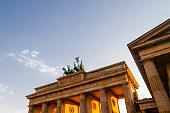 Germany, Berlin, Berlin-Mitte, Brandenburg Gate in the evening light