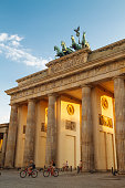 Germany, Berlin, Berlin-Mitte, Brandenburg Gate in the evening light