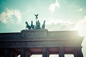 Germany, Berlin, Berlin-Mitte, Brandenburg Gate, Quadriga against the sun