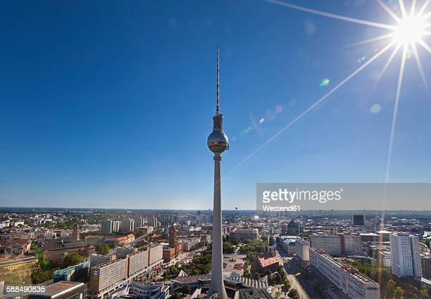 Germany, Berlin, Berlin-Mitte, Cityview against the sun, Berlin TV Tower