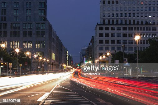 Germany, Berlin, Berlin-Mitte, traffic on Leipziger Strasse in the evening