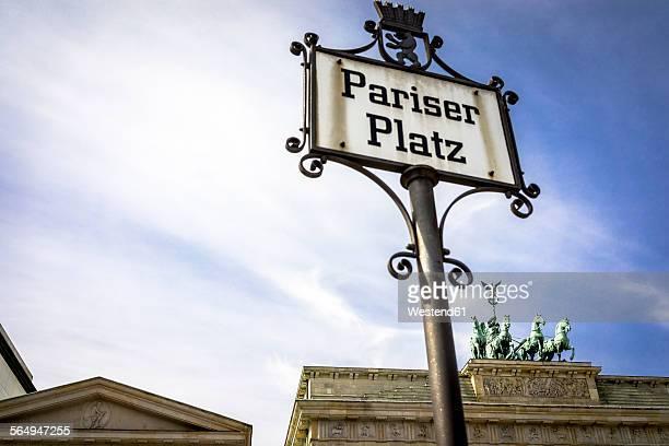 Germany, Berlin, Brandenburg Gate at Pariser Platz, Sign