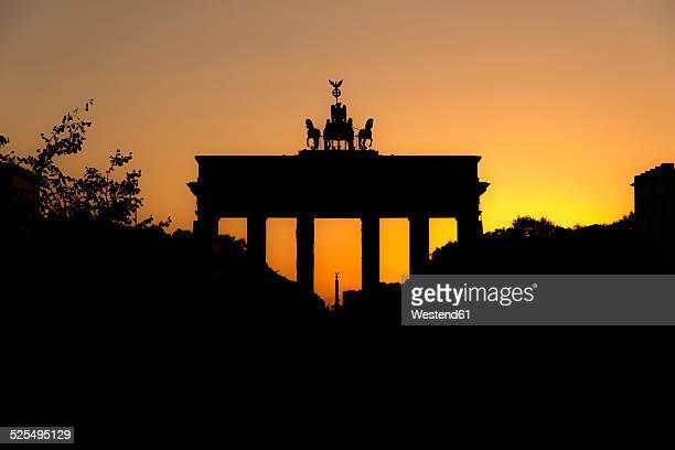 Germany, Berlin, Brandenburg Gate at sunset