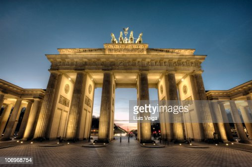 Germany, Berlin, Brandenburg gate, night : Stock Photo