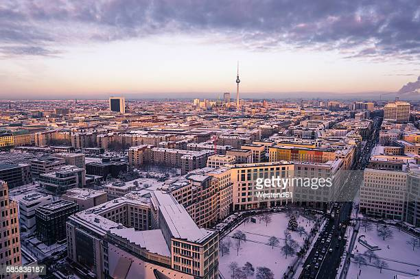 Germany, Berlin, Cityview with Leipziger Strasse in winter