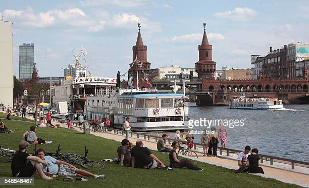 Germany Berlin Friedrichshain hotel ship on the Spree river at the bridge Oberbaumbruecke