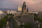 Germany, Berlin, Kaiser Wilhelm Memorial Church and skyline