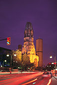 Germany, Berlin, Kurfurstendamm, Kaiser Wilhelm Memorial Church, dusk
