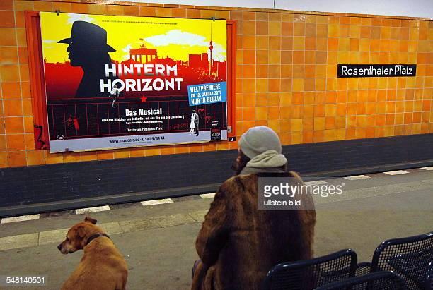 Germany Berlin Mitte subway station Rosenthaler Platz advertising poster for the Udo Lindenberg Musical Hinterm Horizont