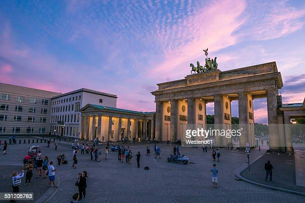 Germany, Berlin, Pariser Platz, Brandenburger Gate at sunset