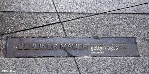 Germany, Berlin, Potsdam Square, former inner German border, former course of the Berlin Wall, sign