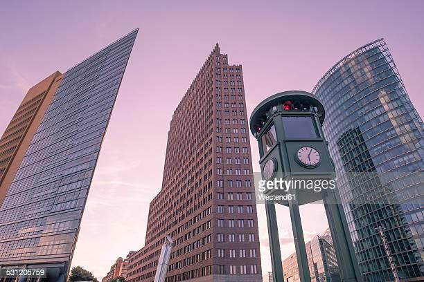 Germany, Berlin, Potsdam Square, skyscrapers, replica of traffic light