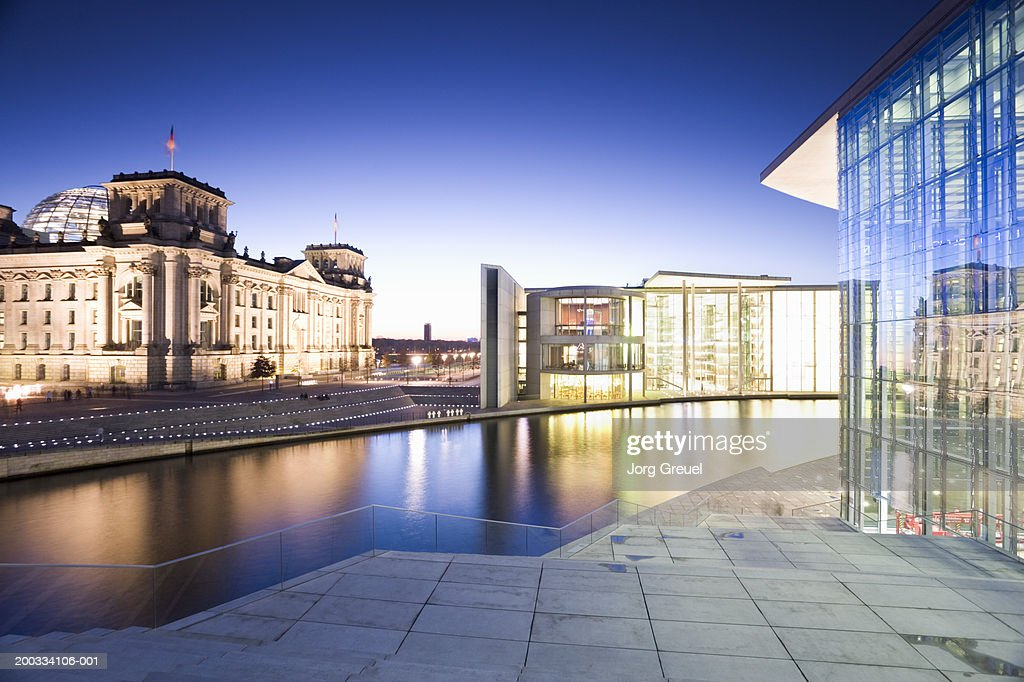 Germany, Berlin, Reichstag building and Spree river at dusk : Stock Photo