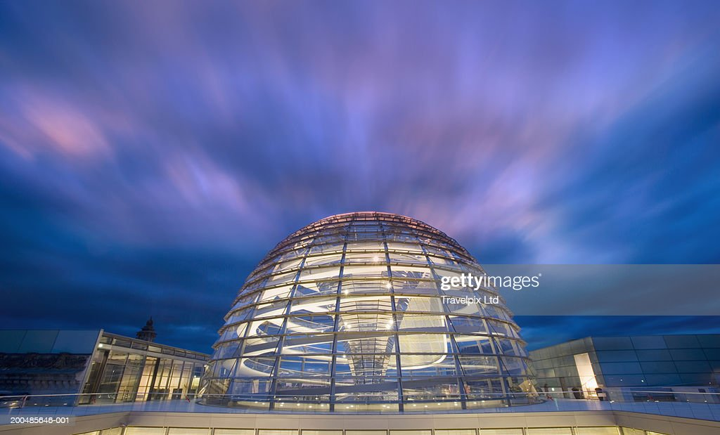 Germany, Berlin, Reichstag Parliament building, glass dome, dusk : Stock Photo