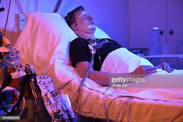 Germany Berlin Steglitz man at the sleep laboratory of the Humboldt University