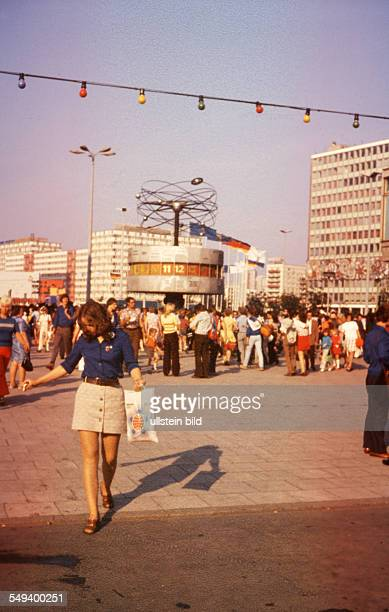 Street scene in East Berlin Alexanderplatz 'Weltzeituhr'