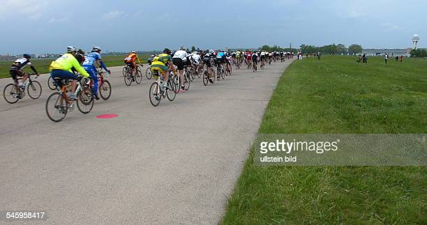 Germany Berlin Tempelhof Velothon cycle racing of amateur athletes bikers on the airfield of the former Tempelhof airport