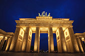 Germany, Berlin, The Brandenburg Gate, night