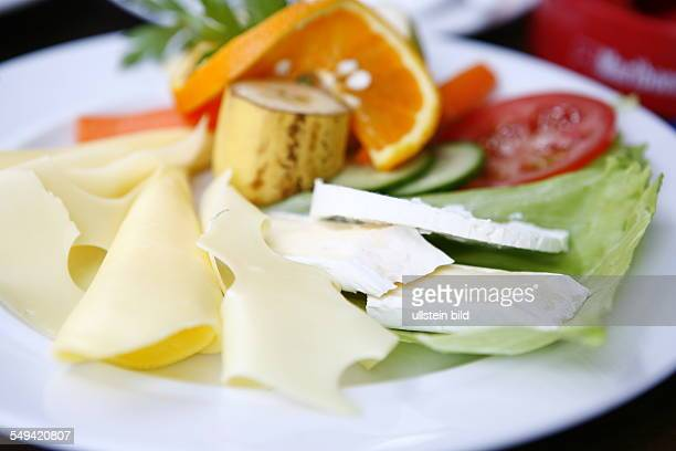DEU Germany Berlin turkish food cheese and fruit dish