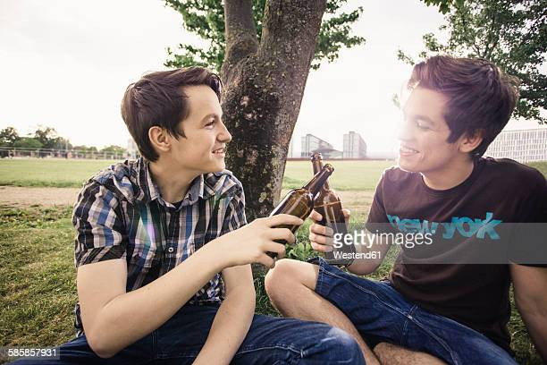Germany, Berlin, two teenage boys sitting under a tree toasting with beer bottles