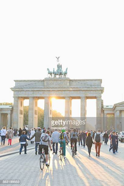 Germany, Berlin, view to Brandenburger Tor at backlight