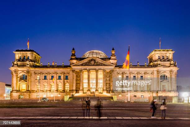 Germany, Berlin, view to lighted Reichstag at night