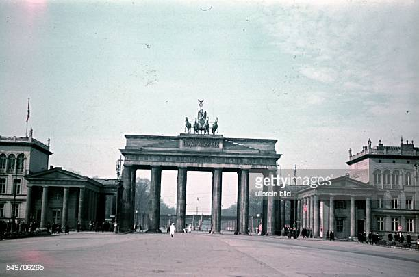 Germany berlin views Pariser Platz and Brandenburgr Tor background camoufkage nets above the avenue 'OstWestAchse' 1940