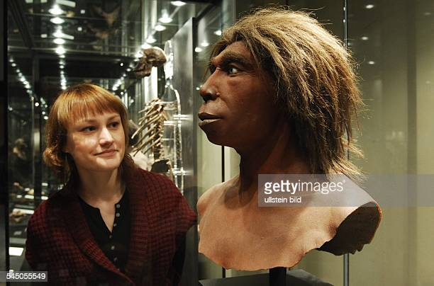 visitor is looking at the head of a Neanderthal man