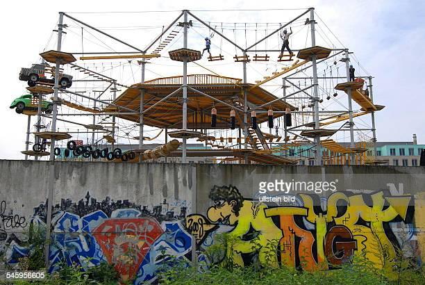 Germany Berlin Wedding Highwire adventure course Mount Mitte on the former area of the Berlin Wall near Nordbahnhof