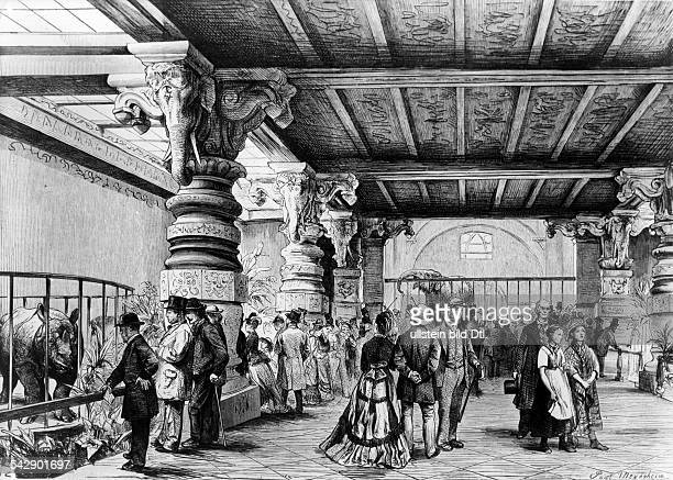 Zoological garden 'elephant house' wood engravong 1874