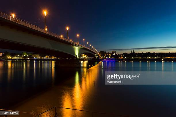 Germany, Bonn, view to lighted Kennedy Bridge