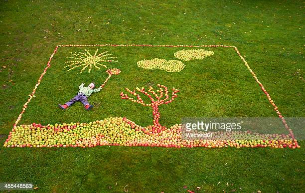 Germany, Boy lying on apples framing picture