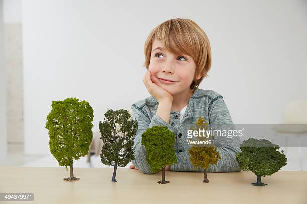 Germany, Boy sitting at table with tree models, environmental conservation