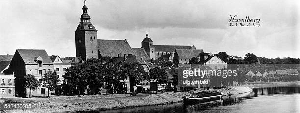 Germany Brandenburg city of Havelberg The cathedral St Mary and the river Havel Date unknown