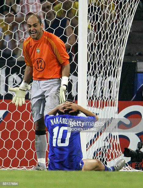 Brazilian goalkeeper Marcos shouts as Japanese midfielder Shunsuke Nakamura reacts during the 2005 FIFA Confederations Cup football match Japan vs...
