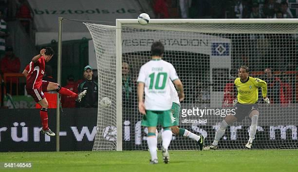 Germany Bremen Bremen UEFA Cup season 20082009 semifinal first leg SV Werder Bremen v Hamburger SV 01 Piotr Trochowski of Hamburg scoring decisive...