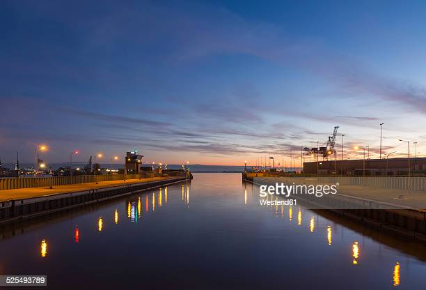Germany, Bremerhaven, Open lock in the evening
