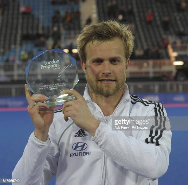 Germany captain Maximilian Mueller with the trophy after beating Australia in the final during the Visa International Invitational Hockey Tournament...