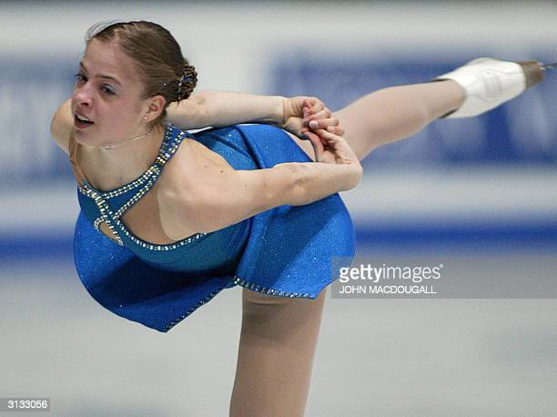 Carolina Kostner of Italy performs in the Ladies Short Program at the 2004 World Figure Skating Championships in Dortmund 26 March 2004AFP PHOTO JOHN...