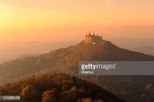 Germany Castle Hohenzollern Moody Fall Sunset Light Fog