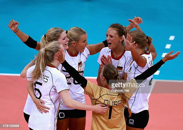 Germany celebrate a point during the Women's Volleyball quarter final match between Poland and Germany on day eleven of the Baku 2015 European Games...