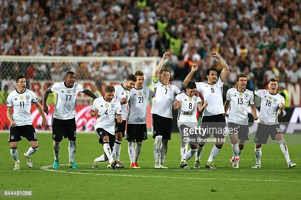 Germany celebrate during the penalty shoot out following the UEFA Euro 2016 Quarter Final match between Germany and Italy at Nouveau Stade de...