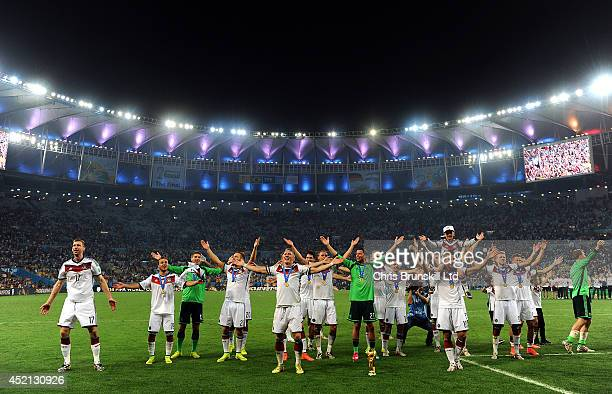 Germany celebrate following the 2014 World Cup Final match between Germany and Argentina at Maracana Stadium on July 13 2014 in Rio de Janeiro Brazil