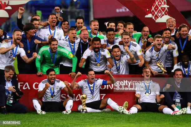 Germany celebrate following the FIFA Confederations Cup Russia 2017 Final match between Chile and Germany at Saint Petersburg Stadium on July 2 2017...