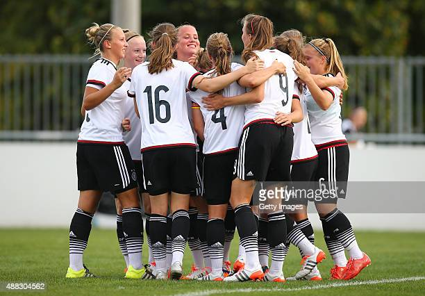 Germany celebrate their team's first goal during the UEFA Women's Under19 European Championship qualifier between U19 Germany and U19 Hungary at...