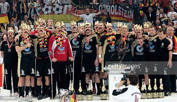 Germany celebrate their victory over Poland after the IHF World Championship final between Germany and Poland at the Cologne Arena on February 4 2007...