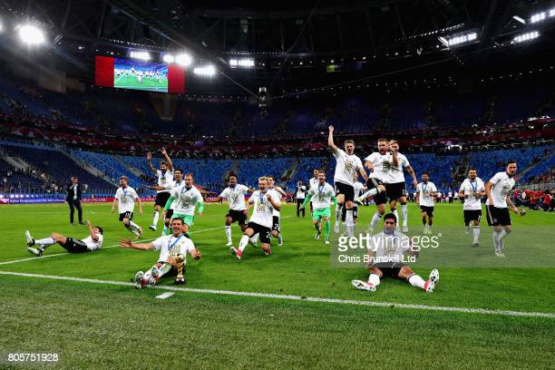 Germany celebrate with the FIFA Confederations Cup trophy after the FIFA Confederations Cup Russia 2017 Final match between Chile and Germany at...