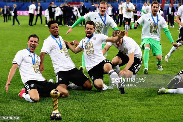 Germany celebrate with the trophy after the FIFA Confederations Cup Russia 2017 Final match between Chile and Germany at Saint Petersburg Stadium on...