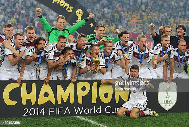 Germany celebrate with the trophy following the 2014 World Cup Final match between Germany and Argentina at Maracana Stadium on July 13 2014 in Rio...