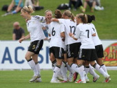 Germany celebrates the goal of Sara Daebritz of Germany during the Women's U17 European Championship Semi Final between Denmark and Germany at the...